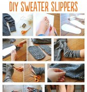 DIY Sweater Slippers - Jen - Drawings Under The Table - FREE
