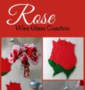 Rose Wine Glass Coasters - Leticia Lebron - Flawless Crochet Flowers