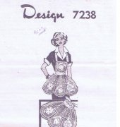 A Full Bib Apron or Half Apron in a Lacy floral design in filet crochet - Design 7238