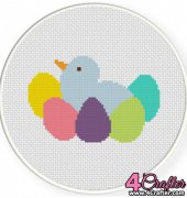 Colorful Bird Eggs - Daily Cross Stitch