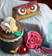 Owl Flower Clutch and Storage Box - The Felt House