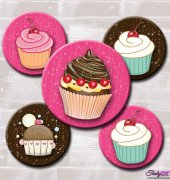Pink & Brown Sparkle Cupcakes-2 Inch Circles-Printable Digital Collage Sheet