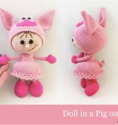 Doll in a Pig outfit - Galina Stelmakhova - Little Owls Hut
