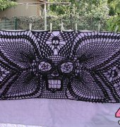 Heaven Sent an Angel Winged Skull Shawl - Laurie Kahn - SpiderMambo Designs