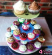 Birthday tower of cupcakes