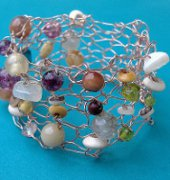Beaded wire knitted bracelet. - Sharon Maher - Laughing purple goldfish designs - Free
