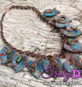 Bronze verdigris leaf necklace