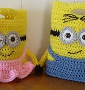 Mr. & Mrs. Minion Purses or Treat Bags - Lauren Madison - Knotty Hooker Designs