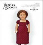 "Bib Front Regency Dress - Fits 18"" Dolls - 1810-10 - Thimbles and Acorns"