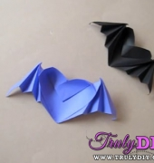 Origami Heart With Bat Wings video tutorial - free