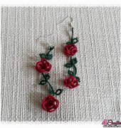 Tatting rose earings - unkown