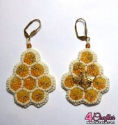 Honeycomb Earrings - Bead Embroidery