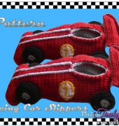 Race Car Slippers, Kid's - Penelope V - UniqueP Crochet
