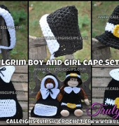 Cuddle Cape Set - Pilgrim Boy and Girl - Elisabeth Spivey - Calleigh's Clips