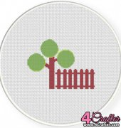 Tree and Fence - Daily Cross Stitch