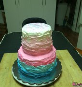 Gender reveal tiered cake - Izzielyn Creations