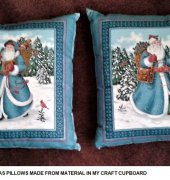 Christmas Pillows Made From Material In My Craft Cupboard