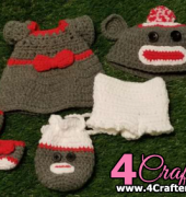 Pookie and Pals Girl Sock Monkey Outfit - Kelli Newcome - Kellis Kreations