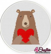 Cute Bear Heart- Daily Cross Stitch