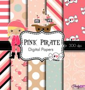Pink Pirate - Digital Papers